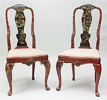 Pair of Queen Anne Style Red-Japanned Side Chairs