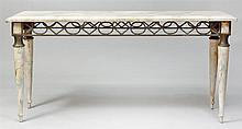 Italian Neoclassical Style Faux Marble and Metal Console