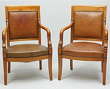 Pair of Empire Style Carved Fruitwood Fauteuils en Cabriolet