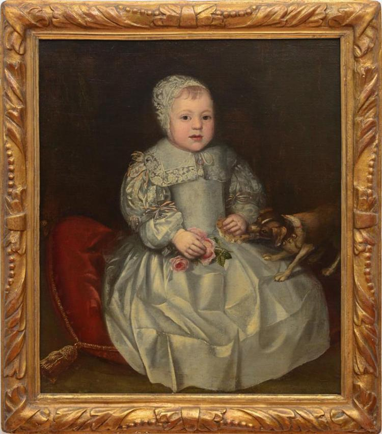 CIRCLE OF JOHN HAYLS (1600-1679): PORTRAIT OF A CHILD IN A WHITE DRESS WITH A DOG