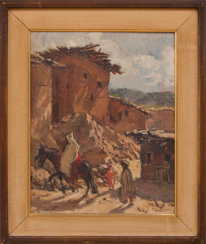 HENRI JEAN PONTOY (1888-1968): MOROCCAN VILLAGE WITH FIGURES