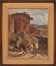 HENRI JEAN PONTOY (1888-1968): MOROCCAN VILLAGE WITH FIGURES