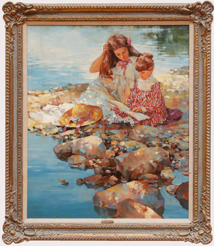 DIANNE FLYNN (b. 1939): READING BY THE SHORE