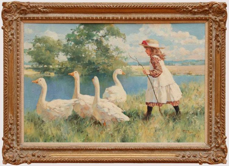DIANNE FLYNN (b. 1939): GIRL WITH GEESE