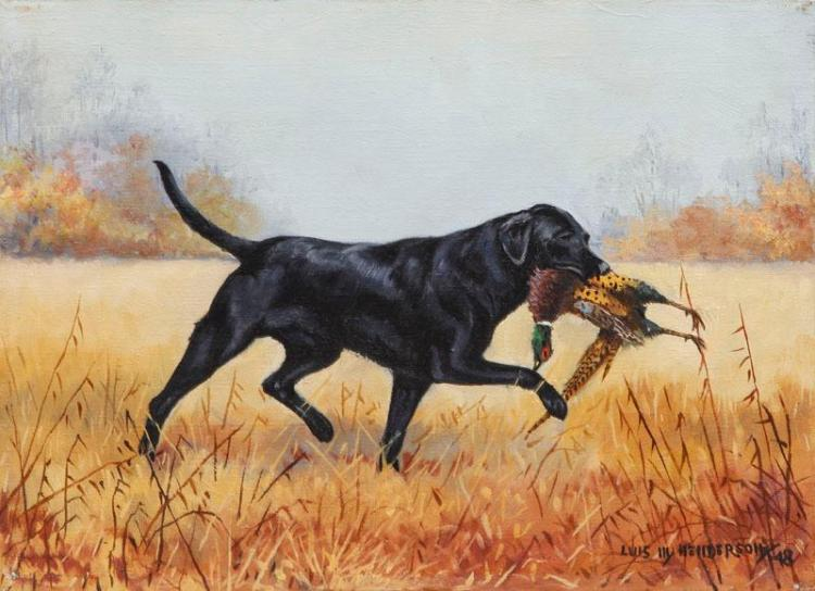 LUIS M. HENDERSON: BLACK LAB WITH PHEASANT
