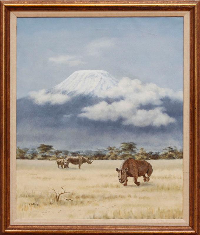 LYDIA DE BURGH (1923-2007): RHINO IN AFRICA