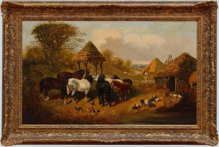 ATTRIBUTED TO JOHN FREDERICK HERRING JR. (1815-1907): FARMYARD SCENE
