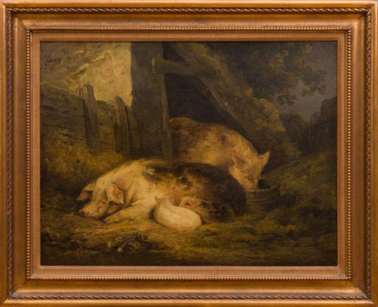 AATRIBUTED TO GEORGE MORLAND (1763-1804): PIGS IN THE BARN