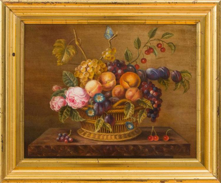 EUROPEAN SCHOOL: STILL LIFE WITH BASKET OF FLOWERS AND FRUIT