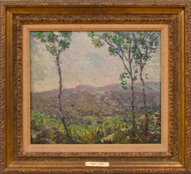 ERNEST LAWSON (1873-1939): LANDSCAPE WITH POPLARS