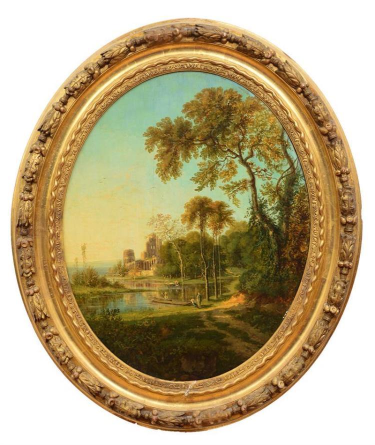 EUGÈNE BLASSET (1800-1900): PAYSAGE AVEC RUINES