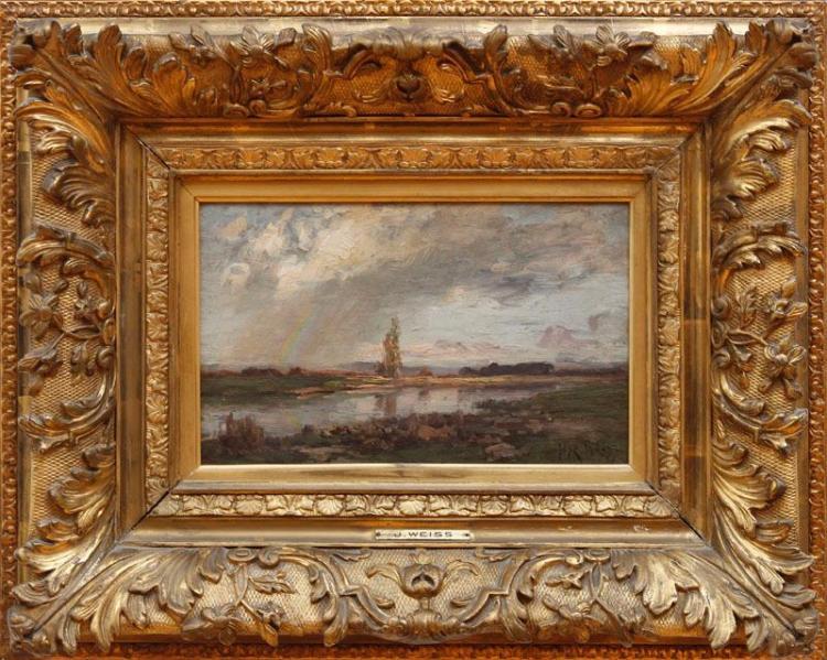 JOSÉ WEISS (AKA JOSÉ WEISZ) (1859-1919): LANDSCAPE WITH RAINBOW