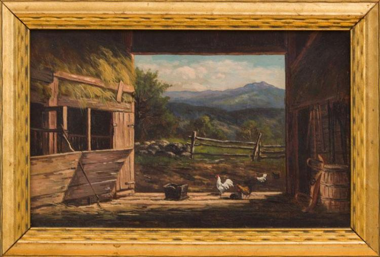 FRANK HENRY SHAPLEIGH (1842-1906): MOTE MOUNTAIN FROM OLD BARN IN JACKSON N.H.