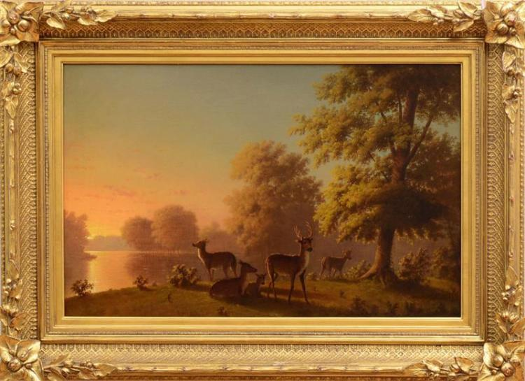 ATTRIBUTED TO ARTHUR FITZWILLIAM TAIT (1819-1905): DEER IN A LANDSCAPE