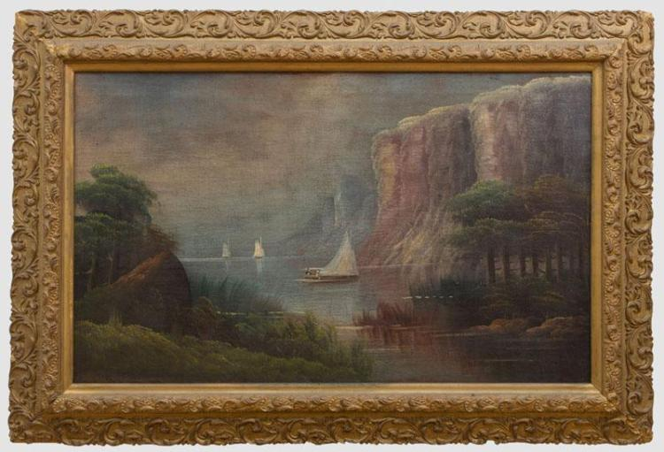 AMERICAN SCHOOL: VIEW ON THE HUDSON RIVER AT THE PALISADES