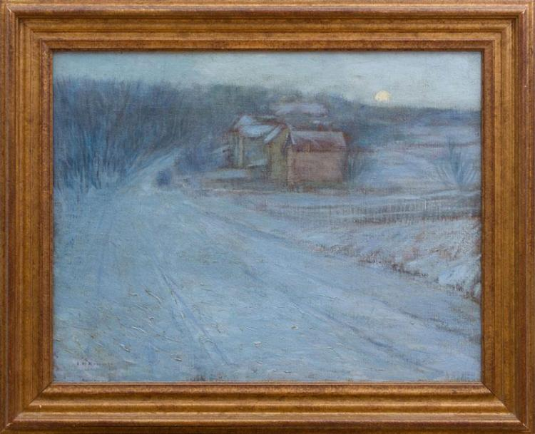 EDWARD WILLIS REDFIELD (1869-1965): MOON RISING OVER WINTER LANDSCAPE AND VERDANT LANDSCAPE