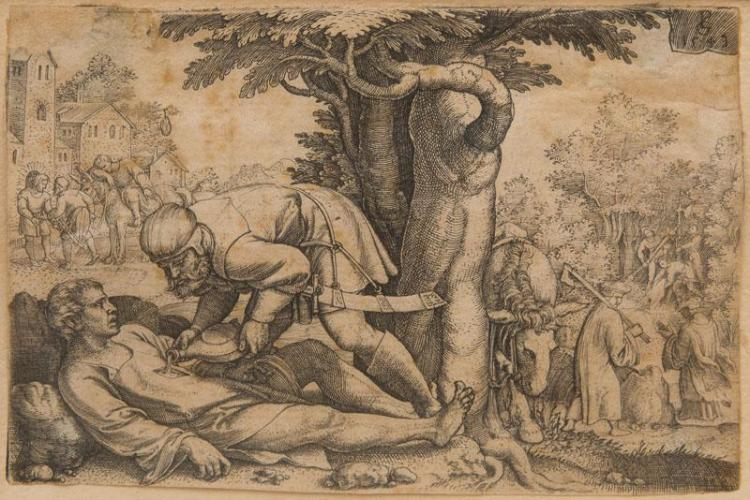 GEORG PENCZ (c. 1500-1530): THE GOOD SAMARITAN TENDING THE INJURED TRAVELER