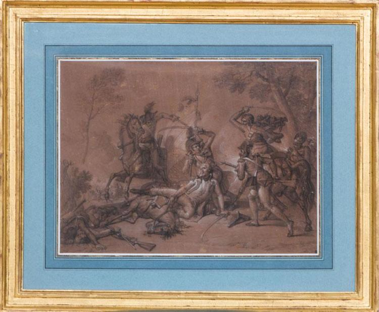 LOUIS LAFITTE (1700-1828): A STANDARD BEARER DEFENDING A WOUNDED COMRADE