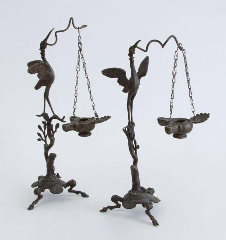 PAIR OF ITALIAN RENAISSANCE REVIVAL OIL LAMPS