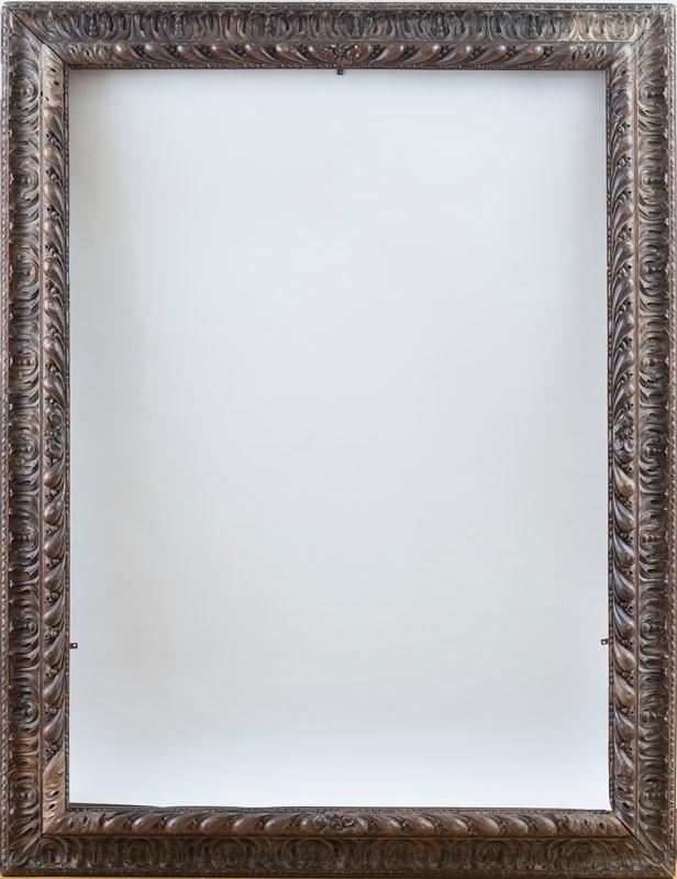 LARGE CONTINENTAL BAROQUE CARVED WALNUT PICTURE FRAME
