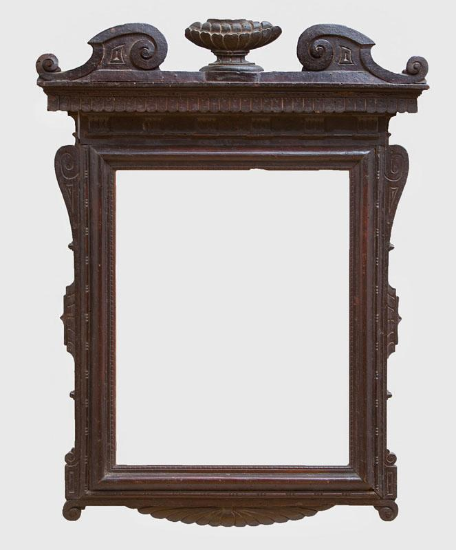 ITALIAN BAROQUE BROWN-STAINED AND CARVED WOOD PICTURE FRAME