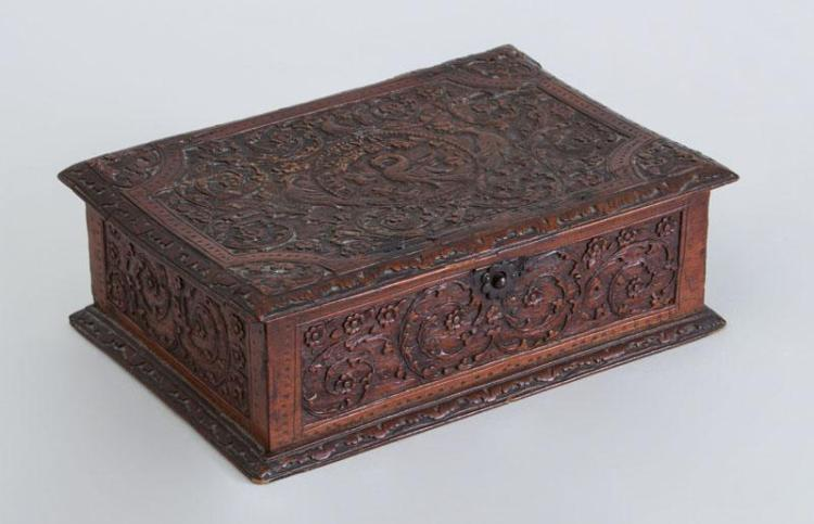 FRENCH RELIEF CARVED FRUITWOOD BOX