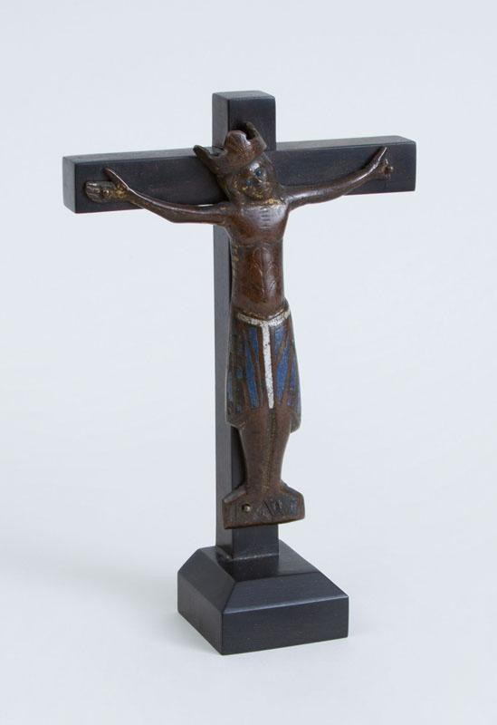 FRNECH LIMOGES ENAMEL ON BRASS CRUCIFIX