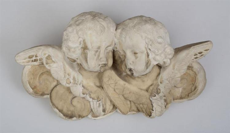 EUROPEAN BAROQUE CARVED MARBLE CHERUB WALL MOUNT