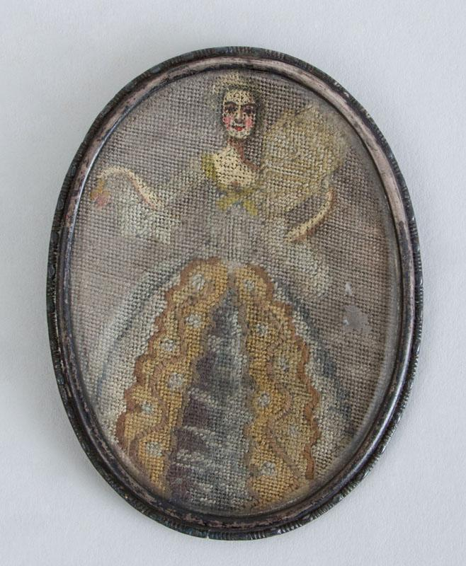 CONTINENTAL NEEDLEWORK OVAL MINIATURE OF A LADY