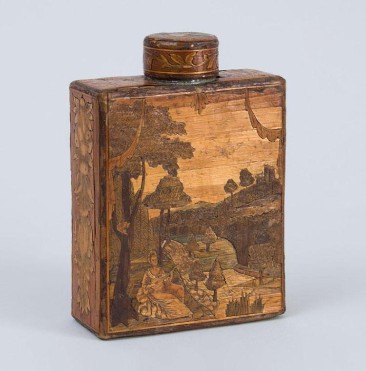 CONTINENTAL ENGRAVED AND TINTED MARQUETRY STRAW WORK TEA CADDY