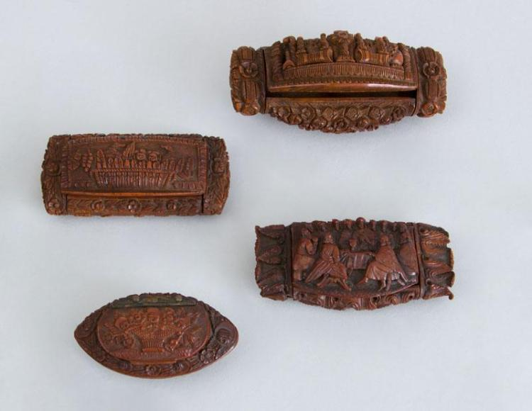 FOUR CONTINENTAL RELIEF-CARVED OBLONG SNUFF BOXES