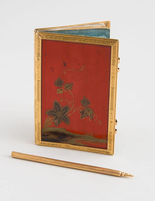LOUIS XV GOLD-MOUNTED JAPANESE RED LACQUER NOTEBOOK AND PEN