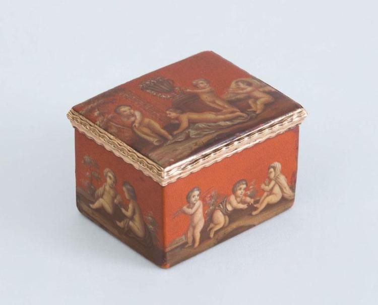LOUIS XV GILT-METAL-MOUNTED RED LACQUER RECTANGULAR SNUFF BOX