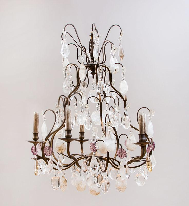LOUIS XV STYLE METAL-MOUNTED ROCK-CRYSTAL AND GLASS FIVE-LIGHT CHANDELIER