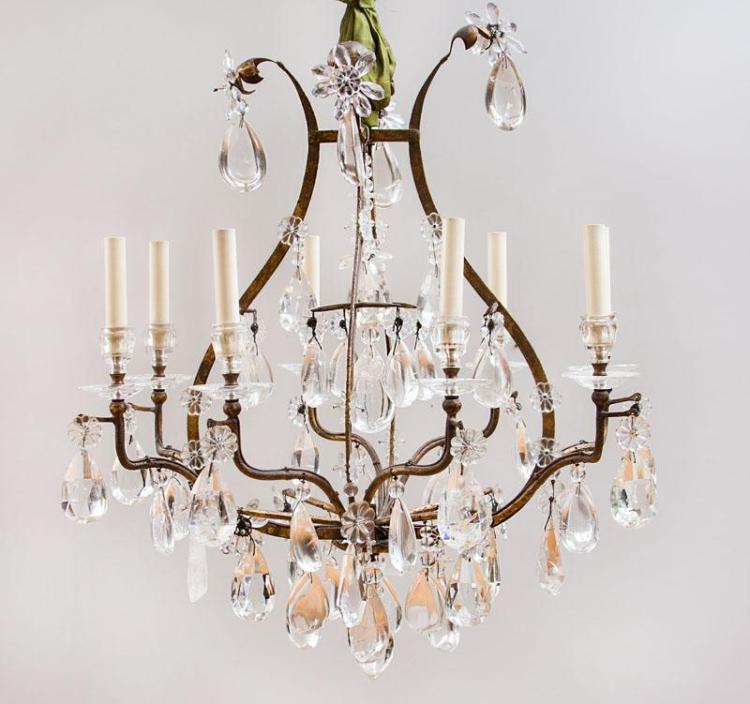 LOUIS XV STYLE GILT-METAL-MOUNTED FACETED-GLASS AND ROCK CRYSTAL EIGHT-LIGHT CHANDELIER
