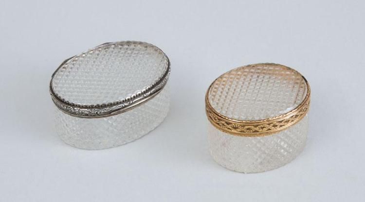 LOUIS XVI GOLD-MOUNTED CUT-GLASS BOX AND A SILVER GILT-MOUNTED CUT-GLASS BOX