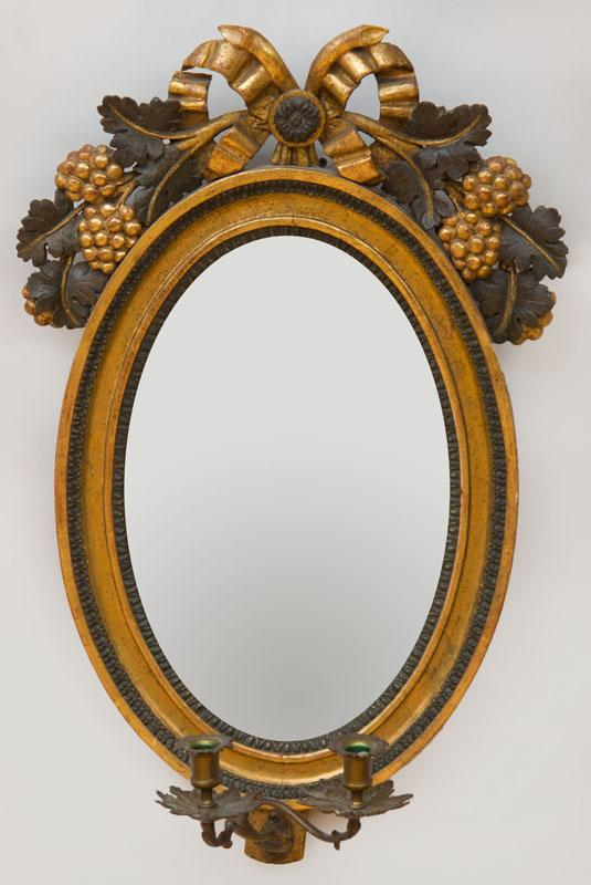 SWEDISH NEOCLASSICAL PAINTED AND PARCEL-GILT OVAL GIRANDOLE MIRROR