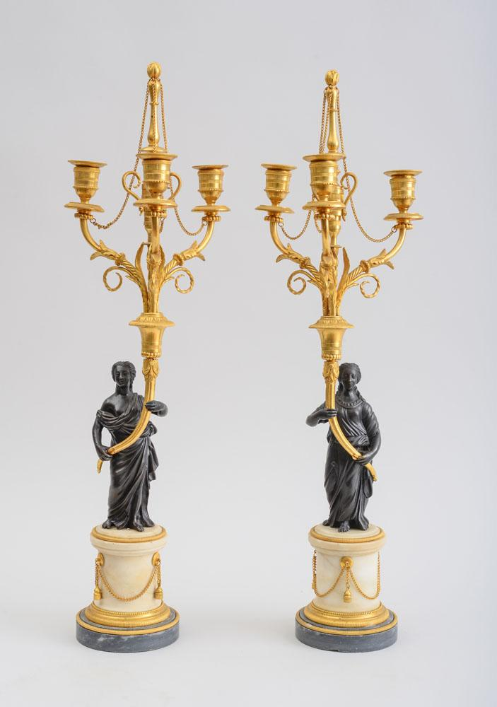 PAIR OF LOUIS XVI STYLE GILT AND PATINATED BRONZE-MOUNTED MARBLE THREE-LIGHT CANDELABRA