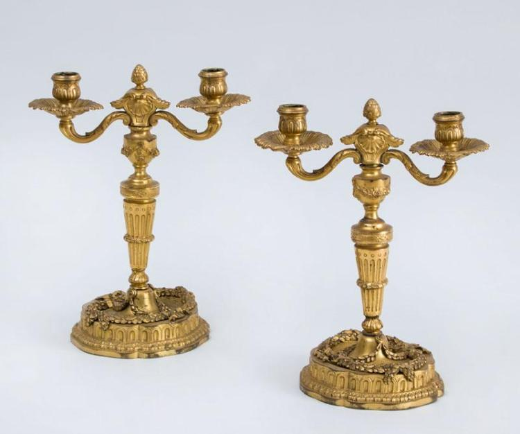 PAIR OF LOUIS XVI STYLE GILT-BRONZE TWO-LIGHT CANDELABRA