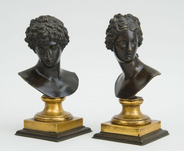 PAIR OF BRONZE BUSTS, AFTER THE ANTIQUE