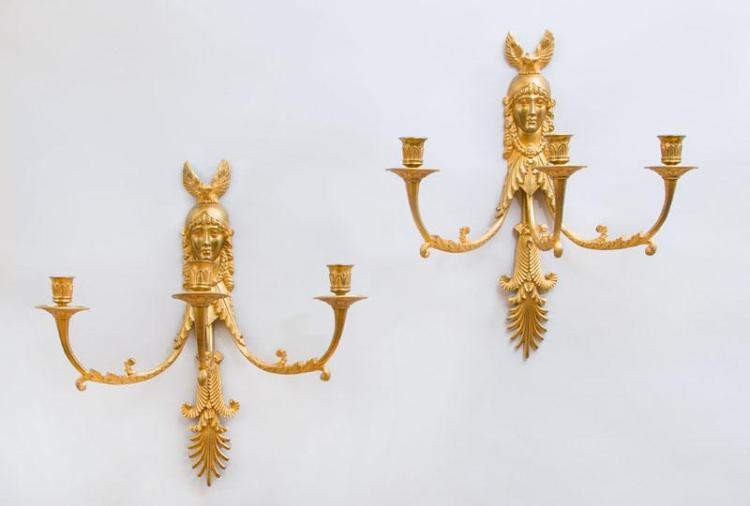 PAIR OF EMPIRE STYLE GILT-BRONZE THREE-LIGHT WALL SCONCES