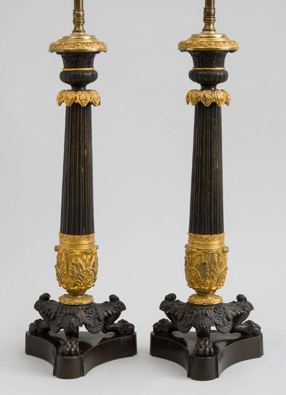 PAIR OF CHARLES X ORMOLU AND PATINATED-BRONZE CANDLESTICKS LAMPS
