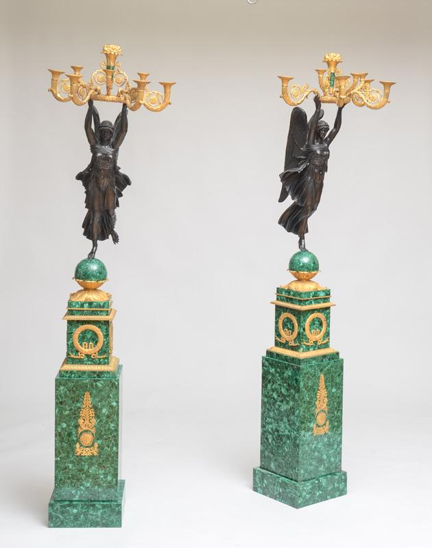 FINE PAIR OF EMPIRE STYLE ORMOLU AND PATINATED BRONZE-MOUNTED MALACHITE EIGHT-LIGHT CANDELABRA, AFTER A MODEL BY PIERRE-PHILIPPE THO...