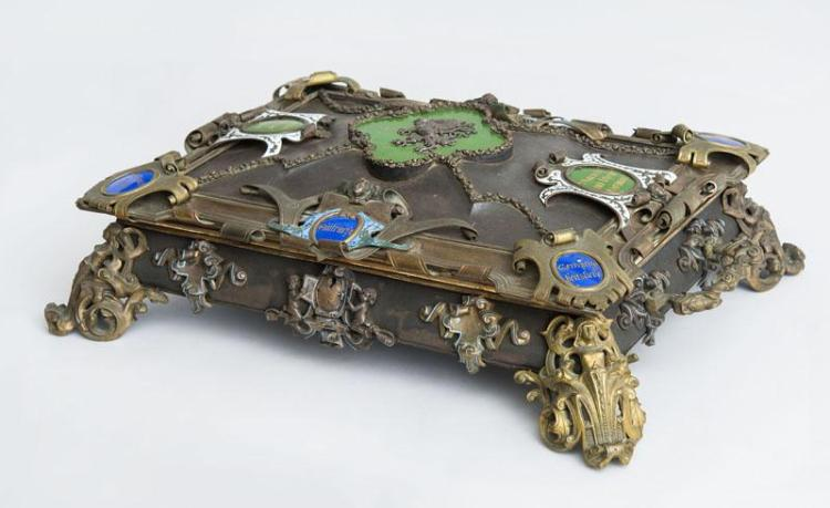 AUSTRIAN RENAISSANCE STYLE BRASS AND GILT-METAL-MOUNTED ENAMEL AND CLOISONNÉ BOX