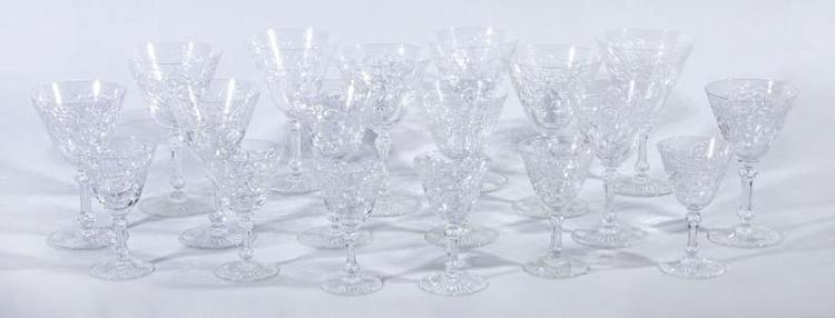 BACCARAT ENGRAVED CRYSTAL 18-PIECE STEMWARE SET, IN THE MARENNES PATTERN