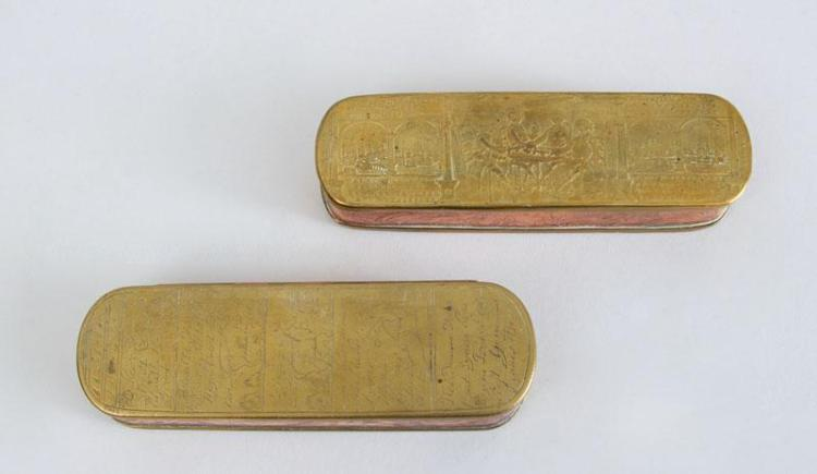 TWO DUTCH ENGRAVED BRASS AND COPPER TOBACCO BOXES