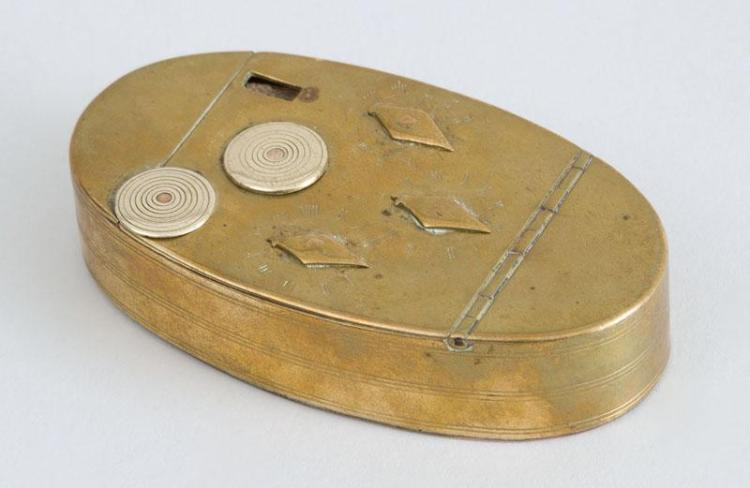 DUTCH BRASS OVAL TOBACCO BOX WITH COPPER BOTTOM