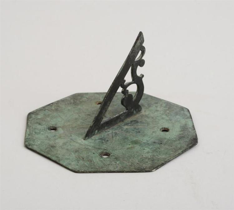 ENGLISH OCTAGONAL BRONZE SMALL SUNDIAL