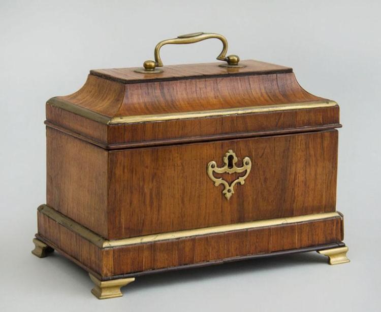 GEORGE III BRASS-MOUNTED MAHOGANY TEA CADDY