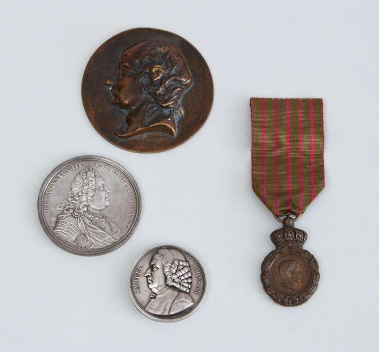 FRENCH BRONZE RELIEF MEDAL OF NAPOLEON I AND THREE OTHER MEDALLIONS
